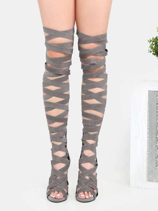 4cb59f3f00c Stiletto Strappy Thigh High Heels GREY