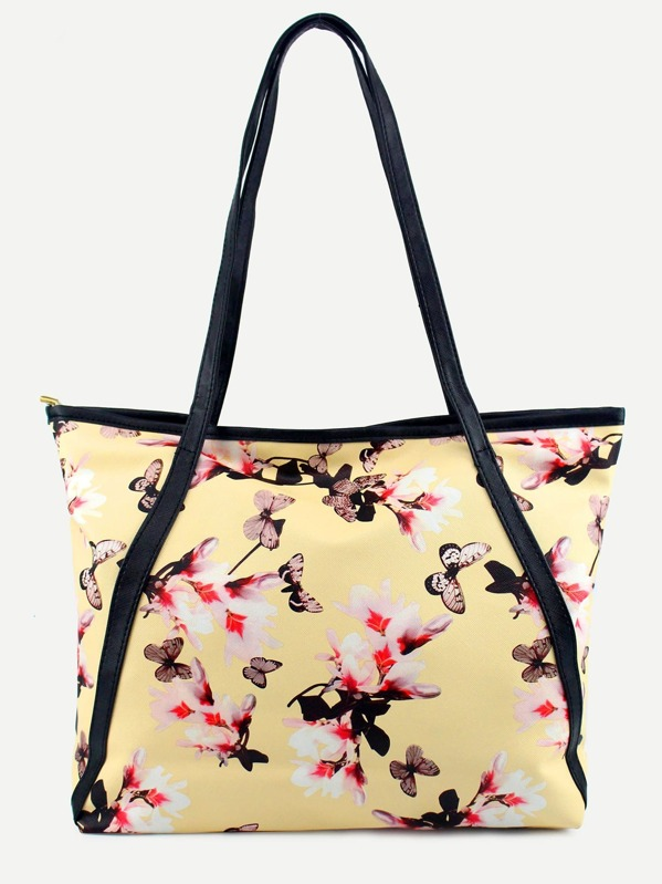 417a87c450 Yellow Flower and Butterfly Print Tote Bag -SheIn(Sheinside)