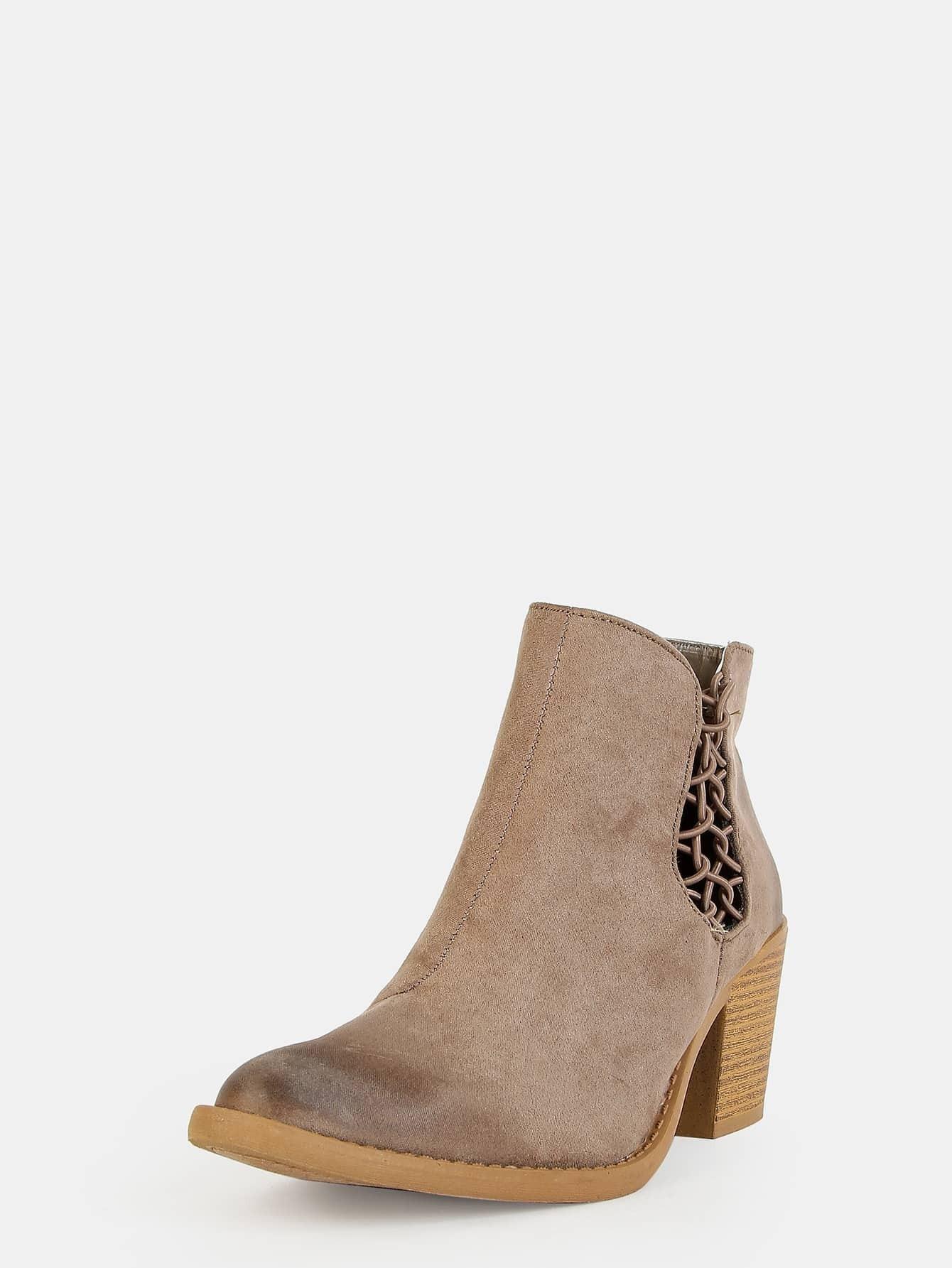 low cut link ankle boots khaki shein sheinside