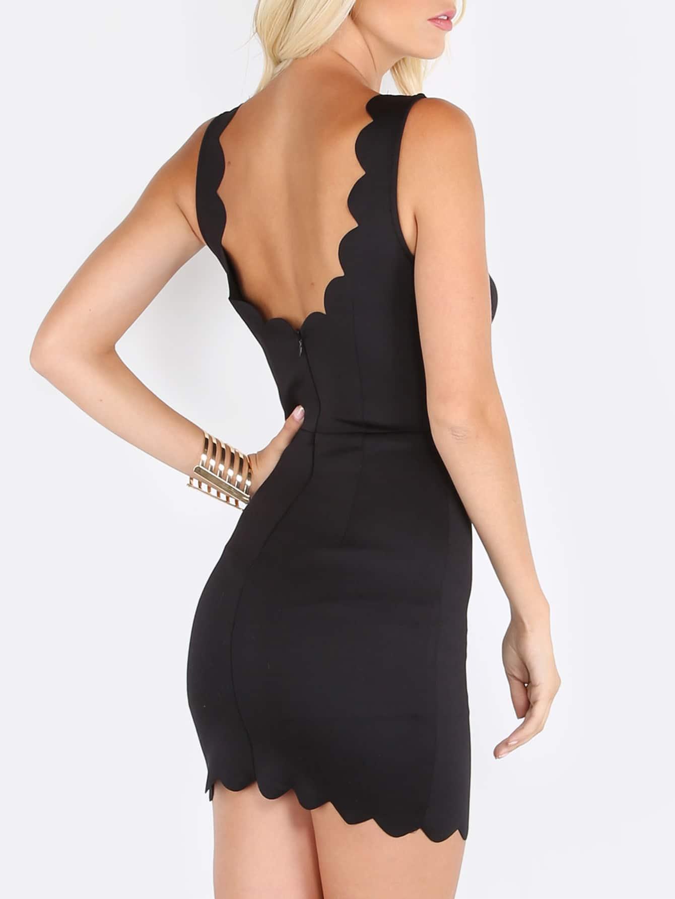 Black V Neck Cut Out Sleeveless Sheath Dress