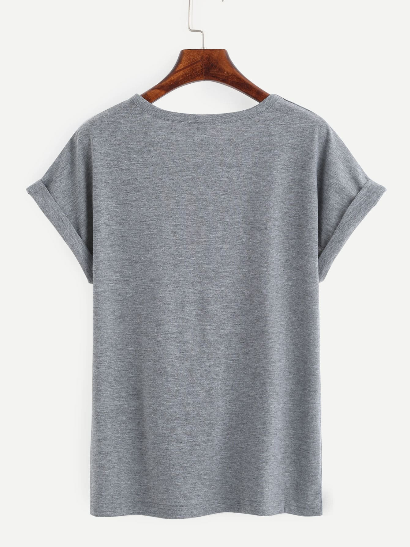 Heather Grey Alien Print Roll Sleeve T-shirt
