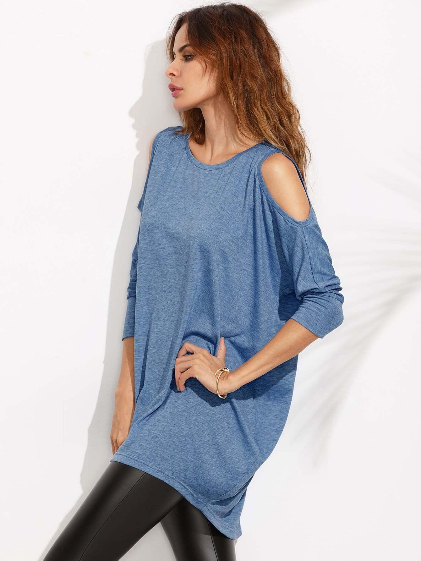 Blue Cold Shoulder Three Quarter Sleeve High Low Dress
