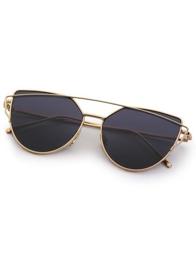 Golden Frame Black Sunglasses : Gold Frame Black Reflective Lenses Sunglasses -SheIn ...