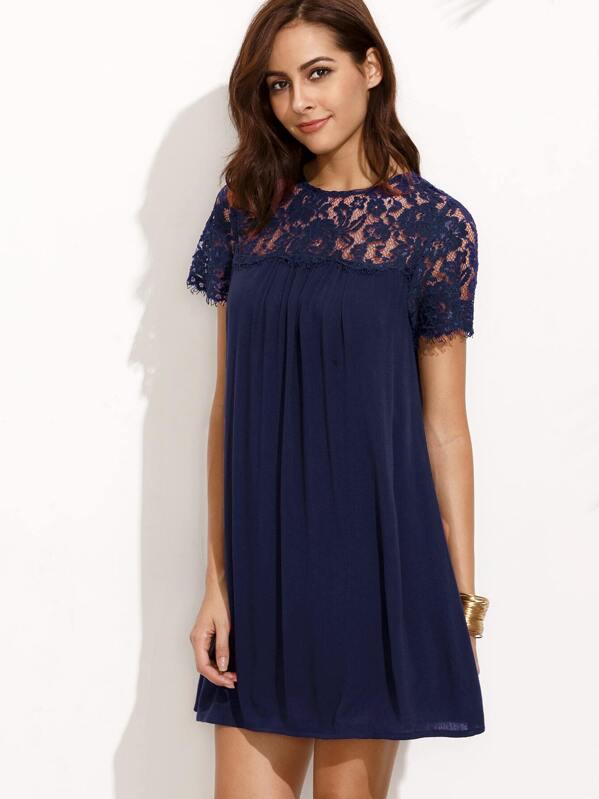 a2c1ba3571d Cheap Dark Blue Round Neck Lace Short Sleeve Shift Dress for sale Australia