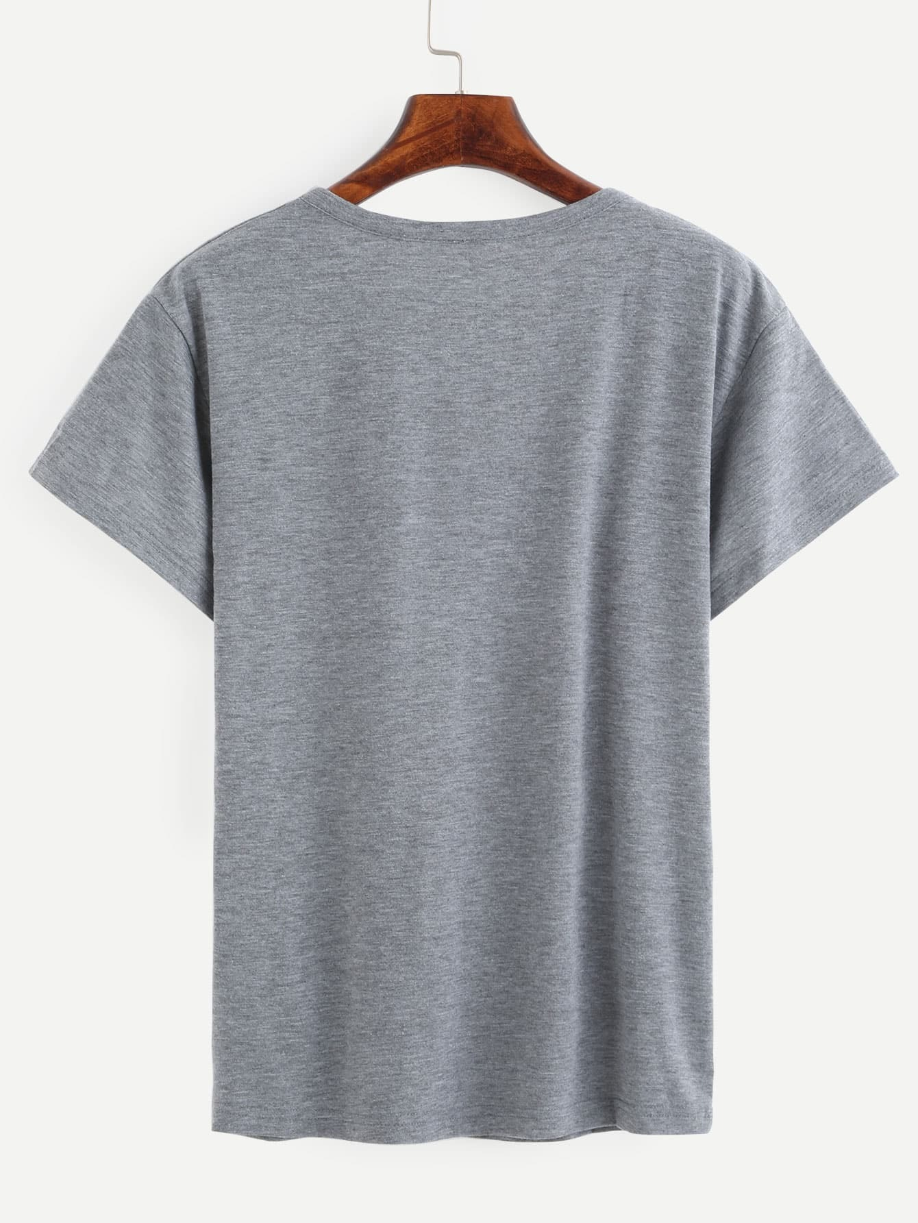 Heather Grey Love Gesture Print T-shirt