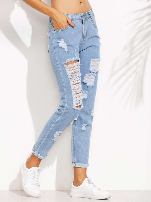 e60de6c0f07e Extreme Distressed Roll Hem Jeans | SHEIN UK