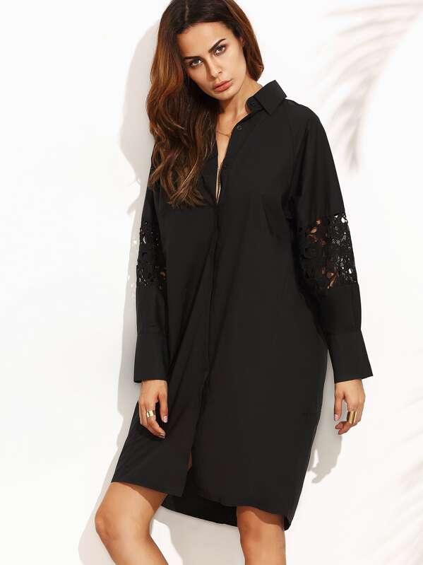 57af5b402c7 Robe chemise orné de strass avec insertion dentelle - noir