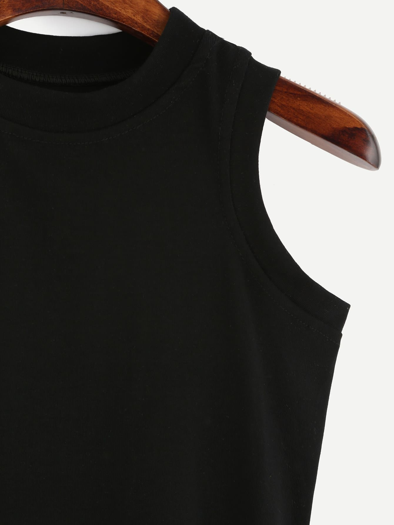 Black Round Neck Tank Top