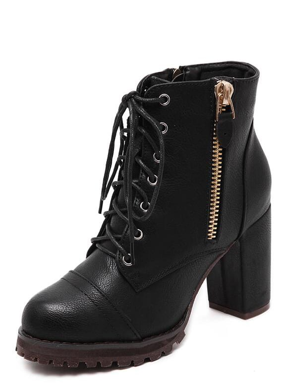 black lace up side zipper chunky heels ankle boots shein