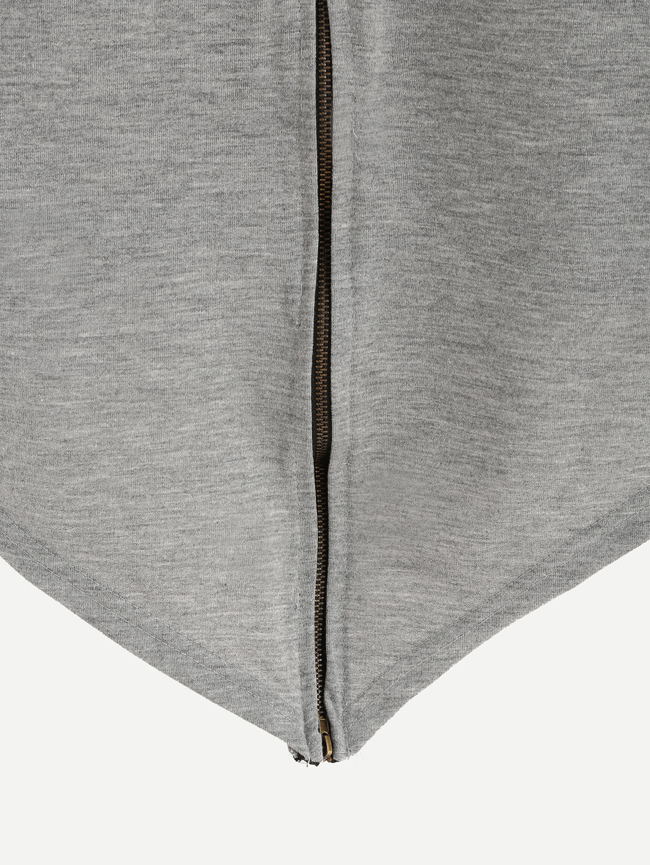 Heather Grey Sequin Lip Zip Back High Low T-shirt