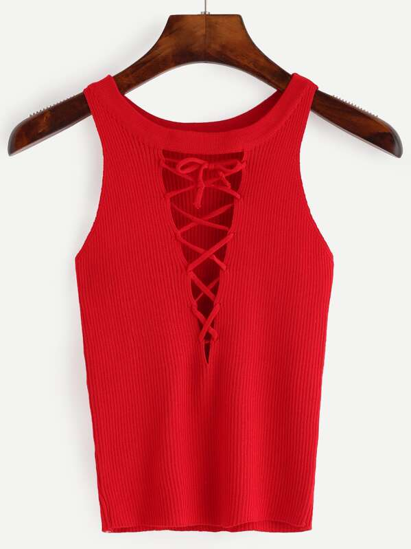 d01cf3953b93c Cheap Red Cutout Lace Up Ribbed Knit Tank Top for sale Australia | SHEIN