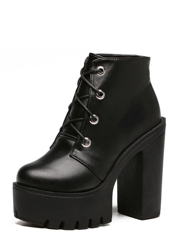 5276fec060 Black Faux Leather Lace Up Chunky Platform Shoes | SHEIN UK