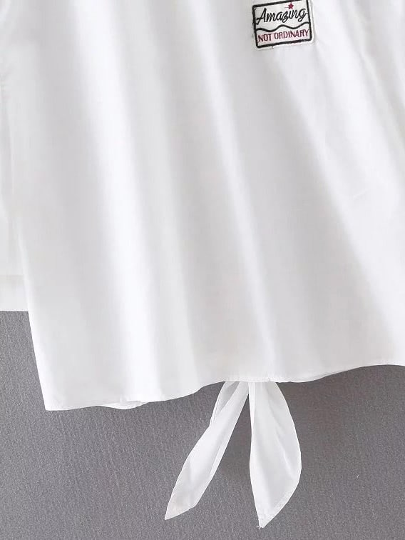 White Peter Pan Collar Knotted Applique Blouse