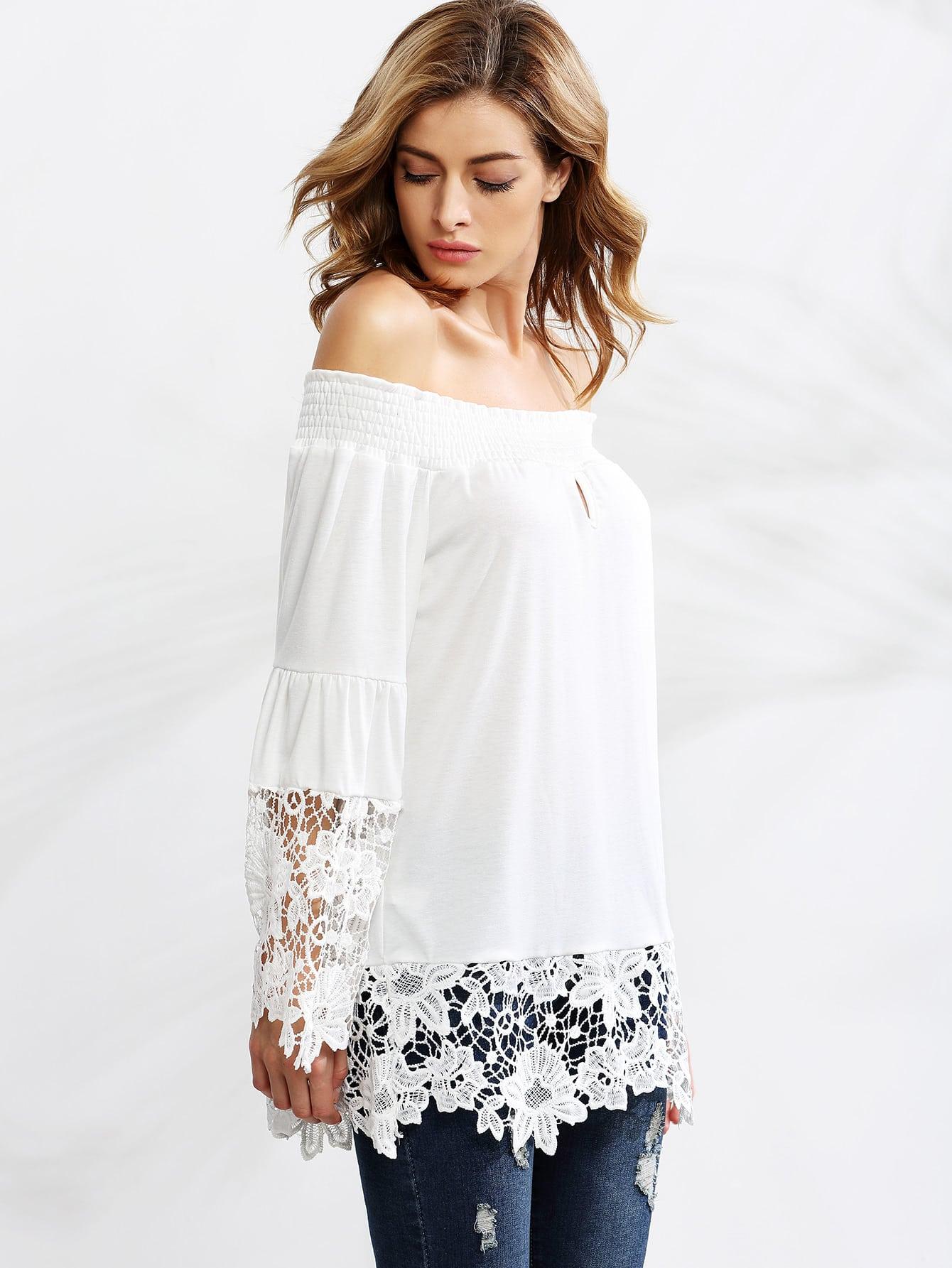 b931266250d862 White Crochet Trim Smocked Off The Shoulder Top
