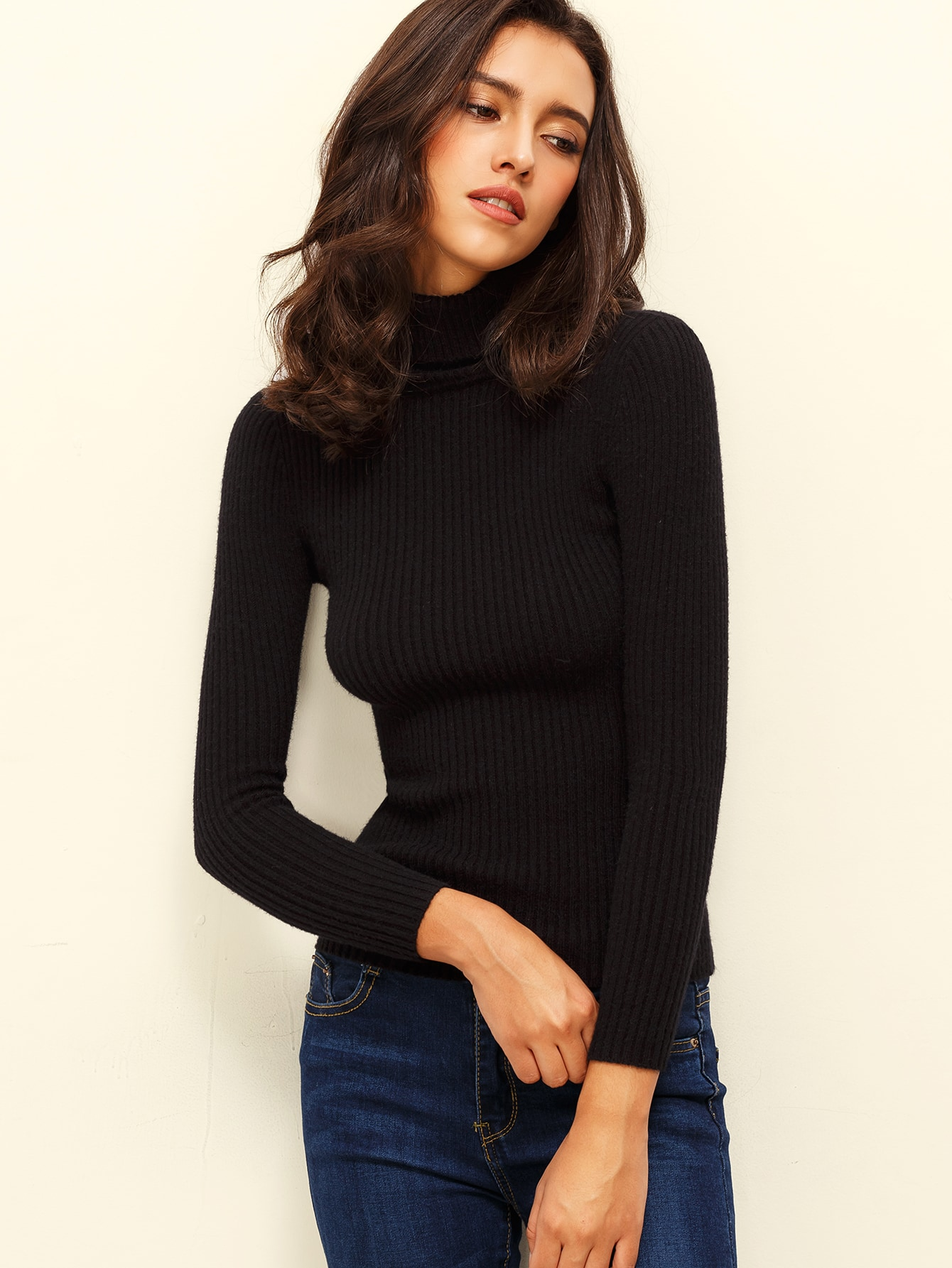 Black Turtle Neck Long Sleeve Knitted T Shirt Shein