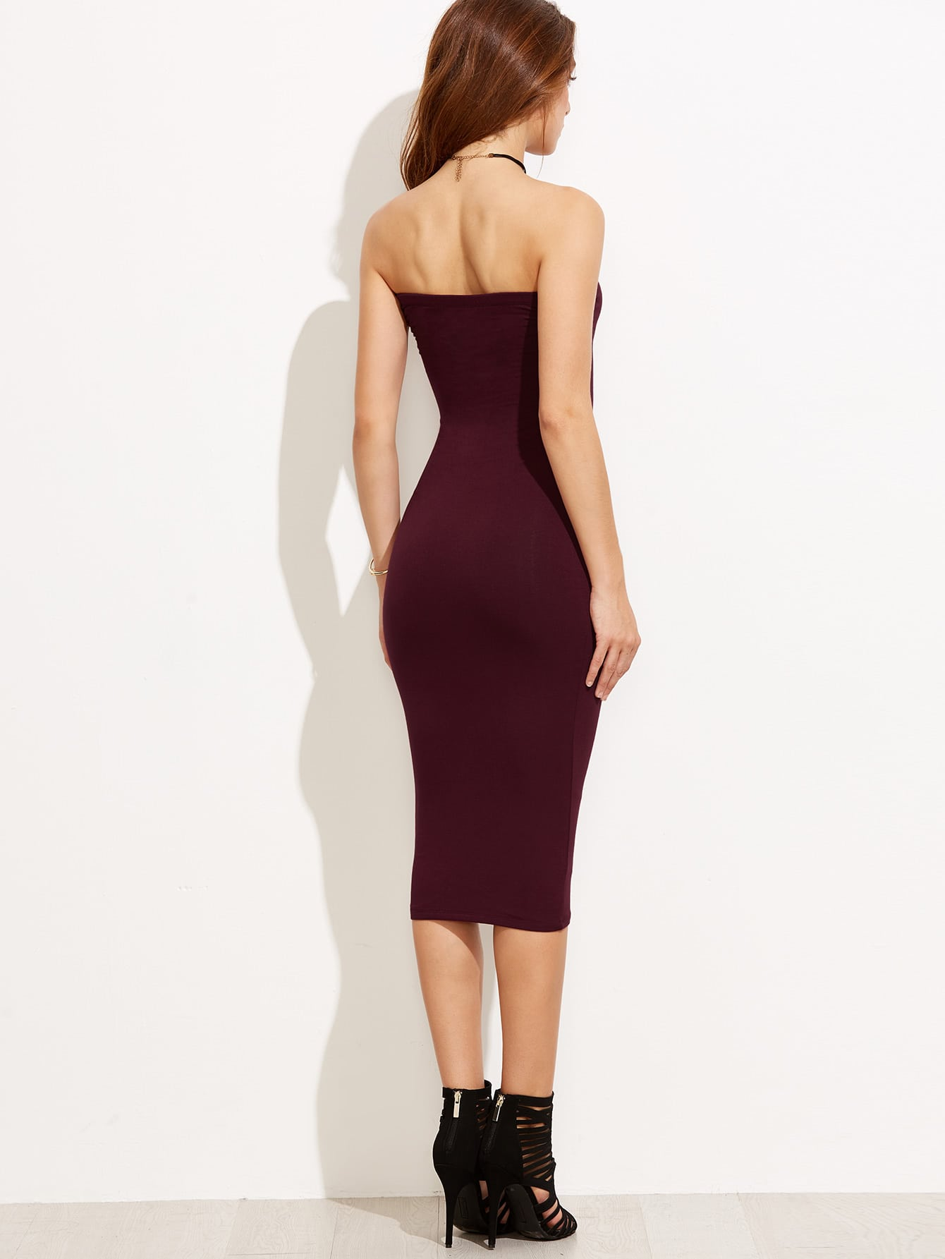 Purple Tube Sleeveless Sheath Midi Dress