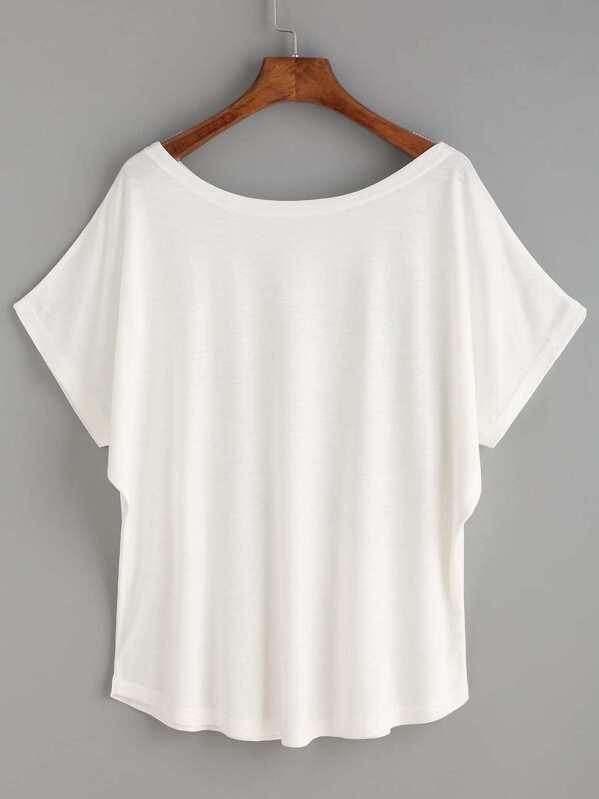 0691fda4 White Giraffe Print Dolman Sleeve T-shirt -SheIn(Sheinside)