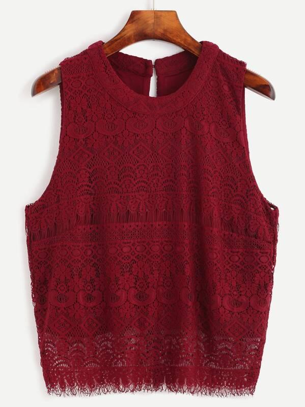28e7eb6b5f957 Cheap Burgundy Keyhole Back Lace Sleeveless Top for sale Australia ...