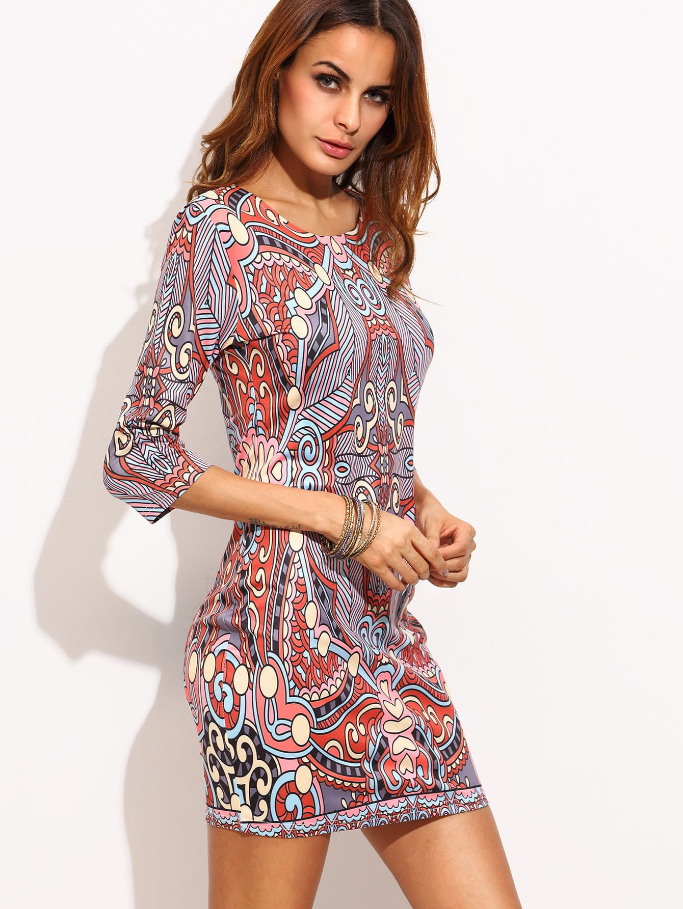 Multicolor Ornate Print Sheath Dress