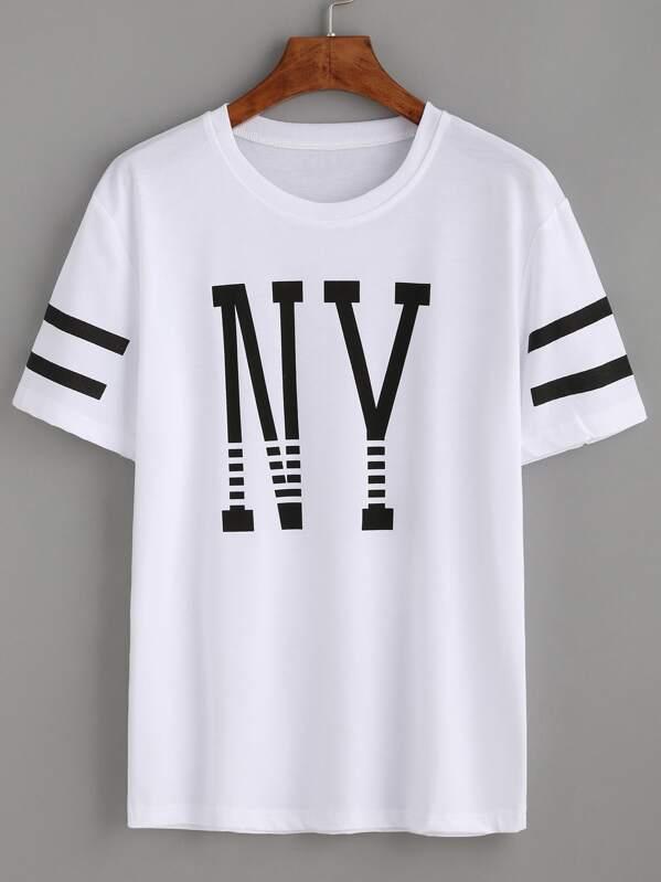 305d428566 Cheap Varsity Striped Letter Print T-shirt for sale Australia | SHEIN