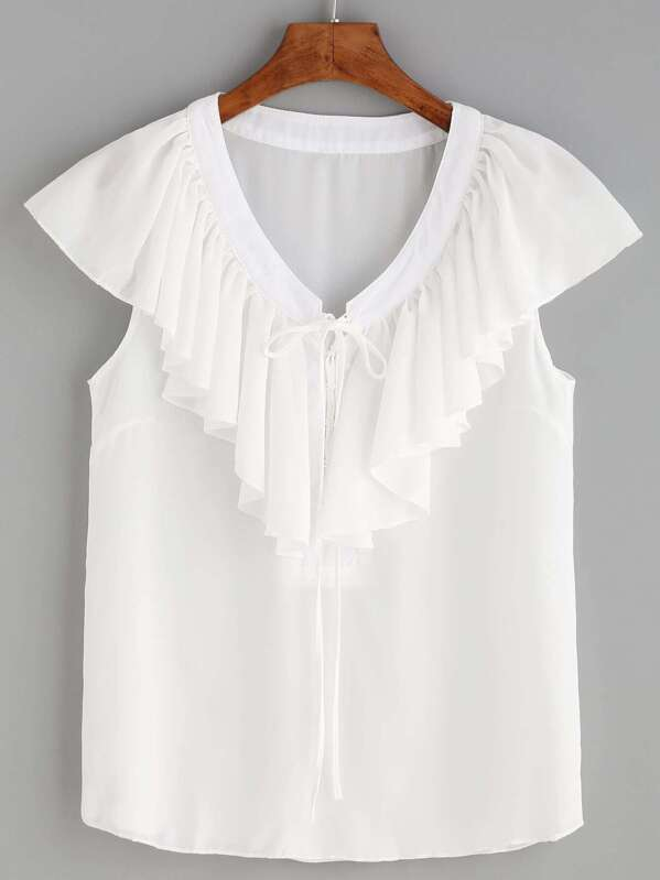0d531599117 White V Neck Lace Up Ruffle Blouse