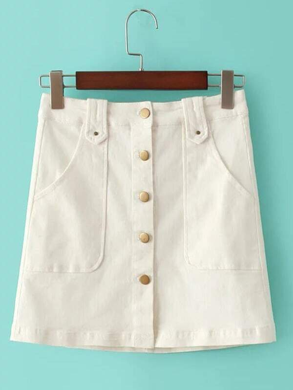 0223f0a064 Cheap White Buttons Front Pockets A-Line Skirt for sale Australia ...