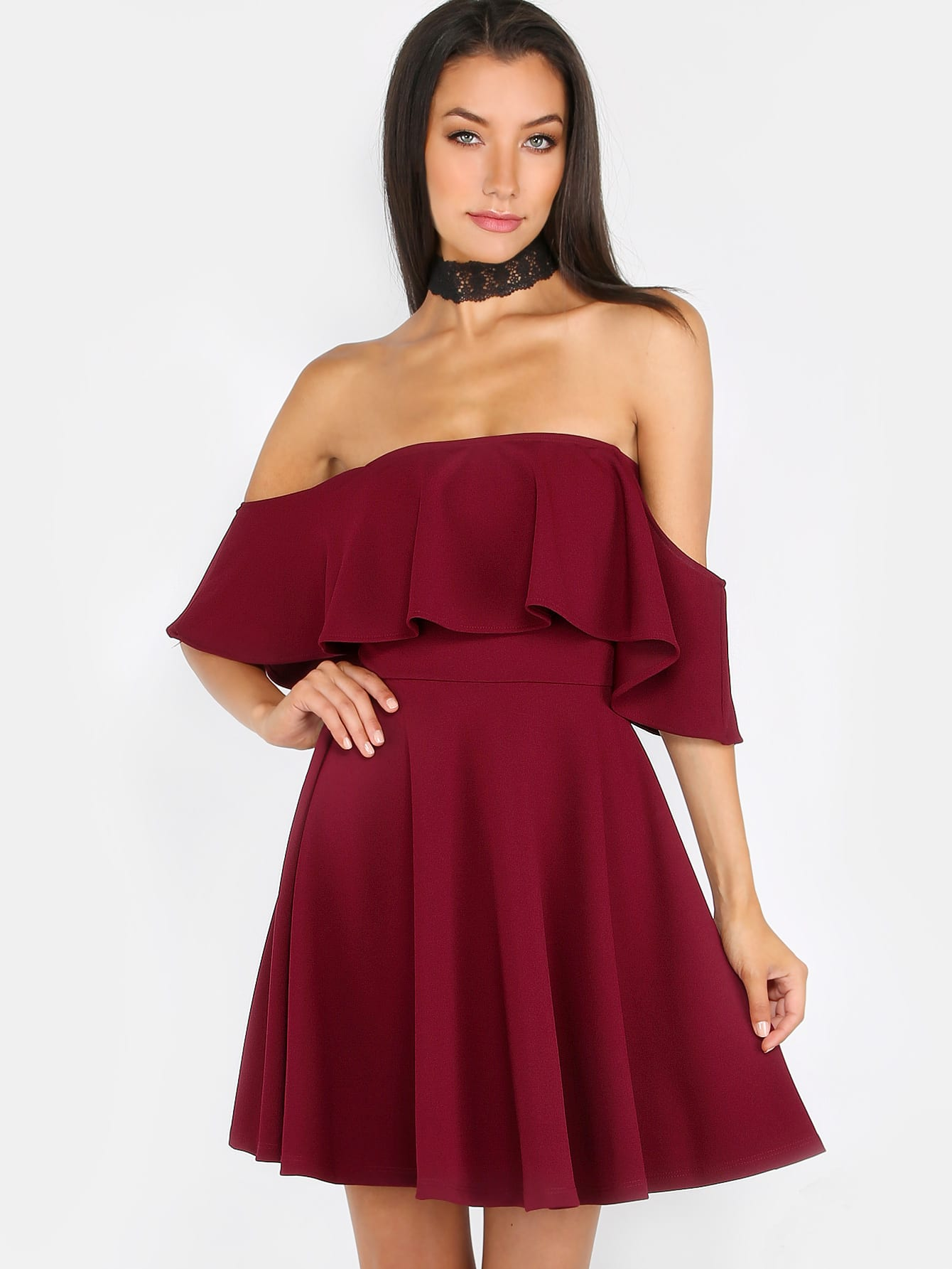 Off The Shoulder Ruffle Skater Dress Burgundy Shein
