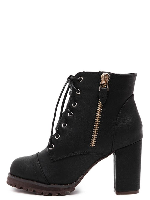 78ff8d1a746e Cheap Black Lace Up Side Zipper Chunky Heels Ankle Boots for sale Australia