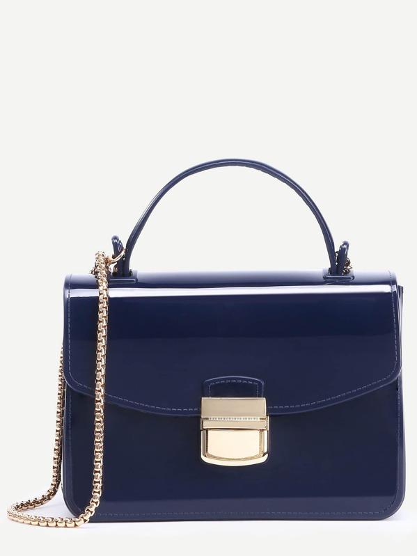 Sac cartable à main avec fermoir verrou - bleu marine-French  SheIn(Sheinside) 0283d9e77b5