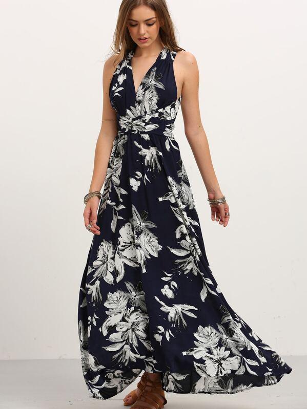 70fdef0498b Robe longue motif fleuri cache-cœur sans manche