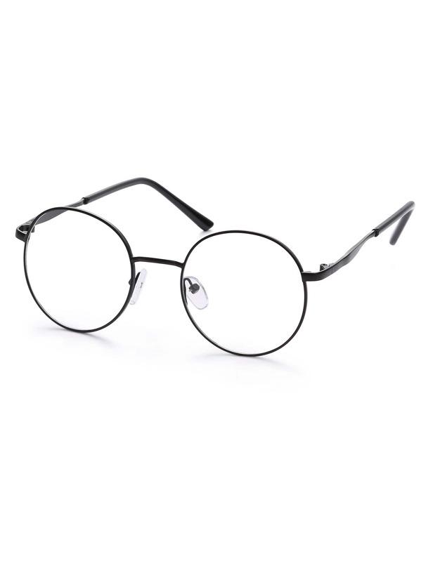 d1c9159b39 Black Metal Frame Round Glasses | SHEIN