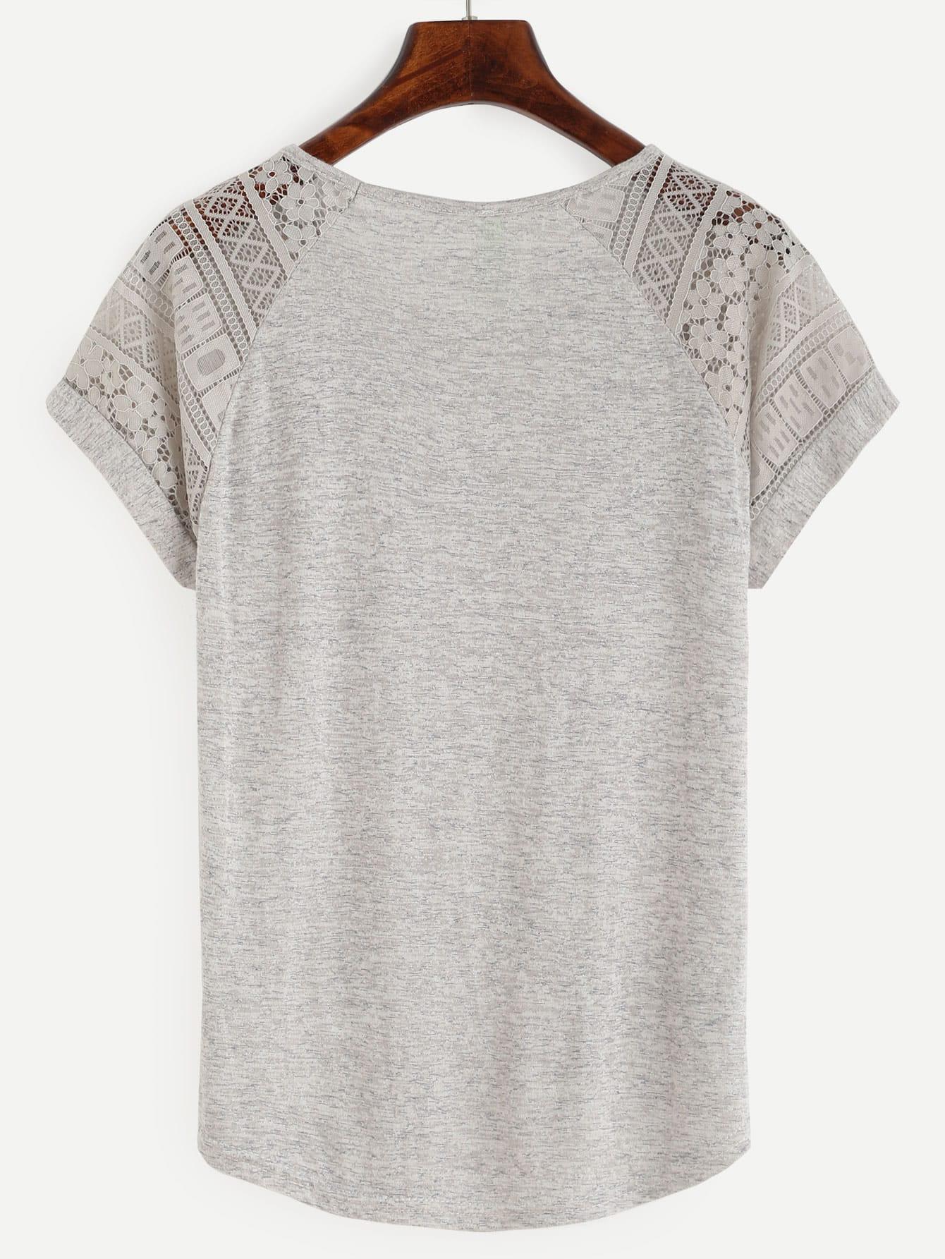 Grey Raglan Sleeve Lace Insert T-shirt