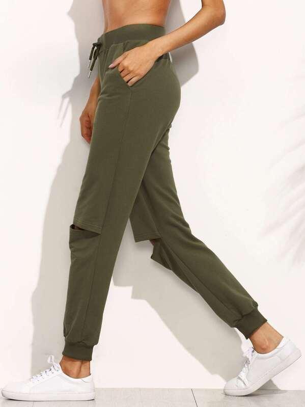 37e31cbbb0 Pantalones corte largo con cordón - verde militar