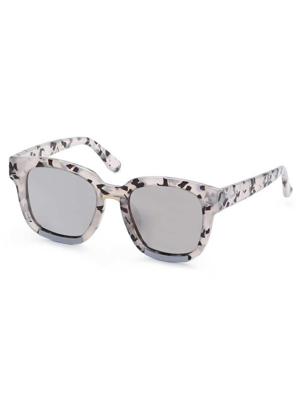 4aa3772e9c Marble Square Frame Reflective Lenses Sunglasses -SheIn(Sheinside)