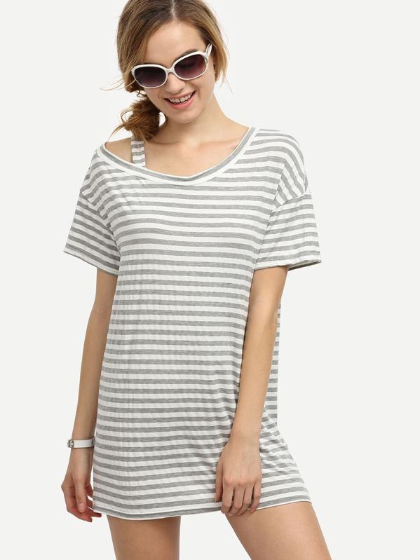 4a2116c138b Robe t-shirt à rayures manche courte - gris-French SheIn(Sheinside)