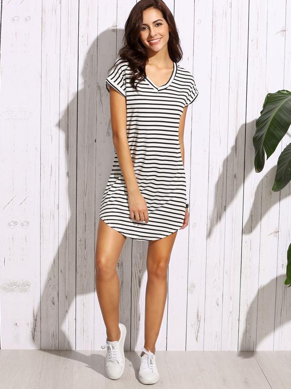 361ea584c65 Striped Curved Hem Tshirt Dress