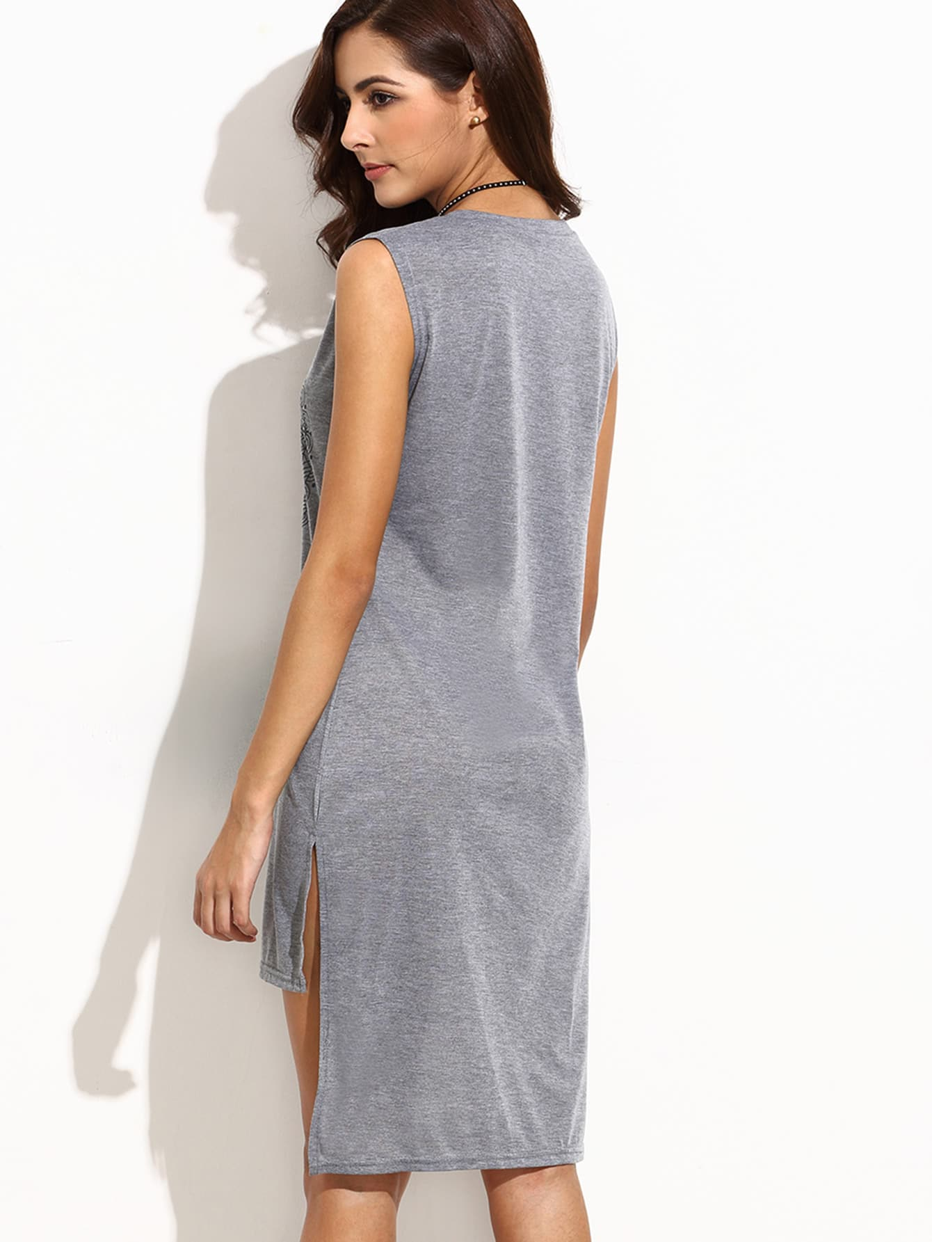 Heather Grey Circle Print High Low Slit Dress