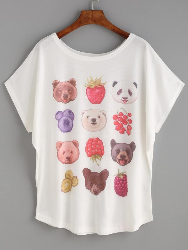 a730a0ff3 White Animal Head Print Dolman Sleeve T-shirt | SHEIN