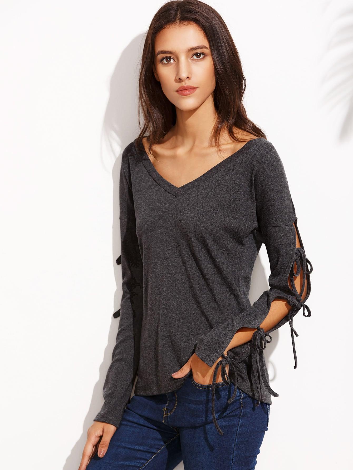 Dark Grey V Neck Tie Long Sleeve T-shirt