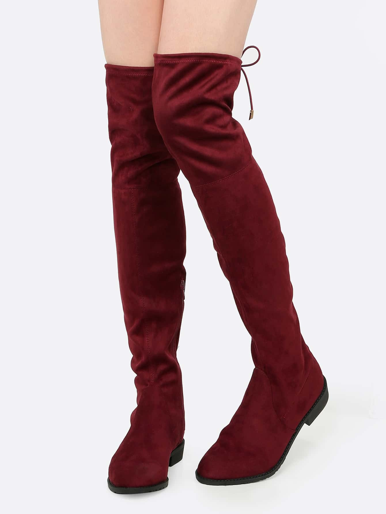 Faux Suede Thigh High Flat Boots BORDEAUX -SheIn(Sheinside)
