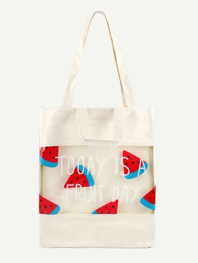 White Watermelon Print Clear Panel Canvas Tote Bag