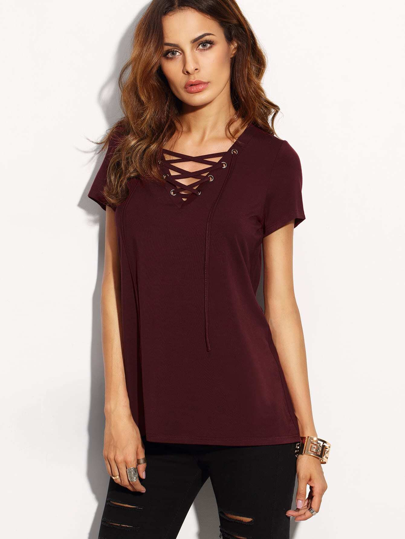 Burgundy Lace Up Front V Neck Short Sleeve T-shirt