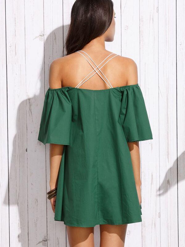Vestido cruzado hombros descubiertos manga acampanada - verde ...