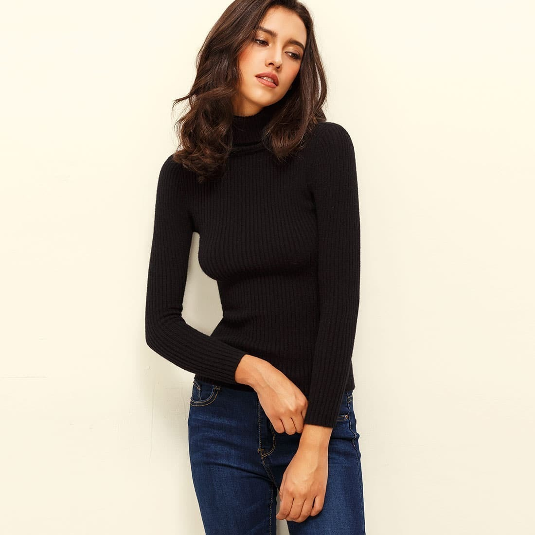 - Black Turtle Neck Long Sleeve Knitted Tshirt