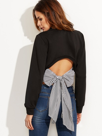 Black Cutout Striped Bow Back Sweatshirt