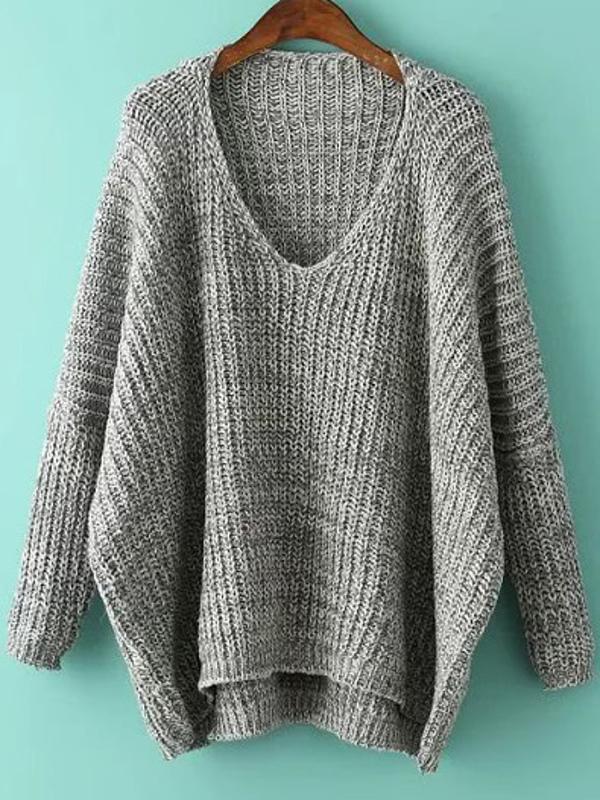 Plunge Neck Batwing Sleeve Dip Hem Oversized Sweater -SheIn(Sheinside)
