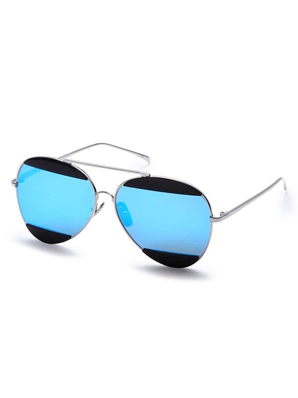 dec37b1b11 Metal Frame Blue Lens Aviator Sunglasses