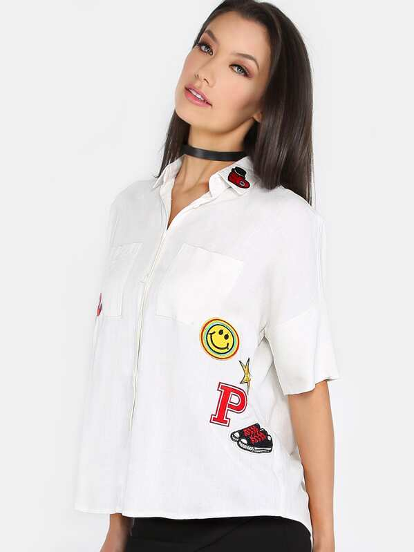d67d5963 Groovy Patch Boxy Button Up Top WHITE | SHEIN
