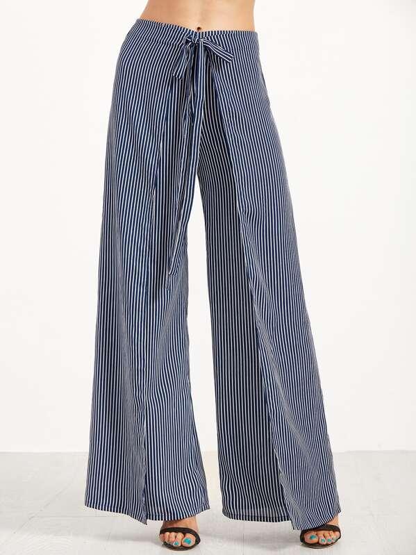billig Navy Vertical Striped Wide Leg Wrap Pants  liefert
