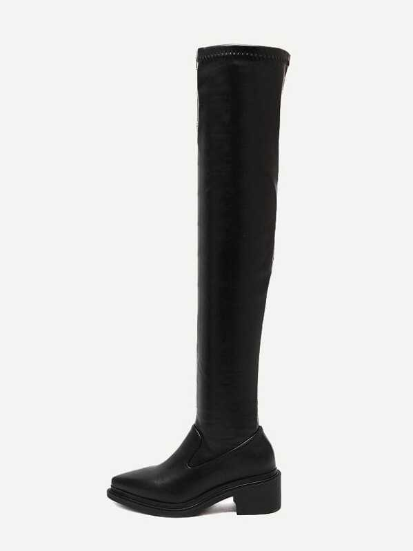 17e8c5b39d Black Faux Leather Over The Knee Boots | SHEIN